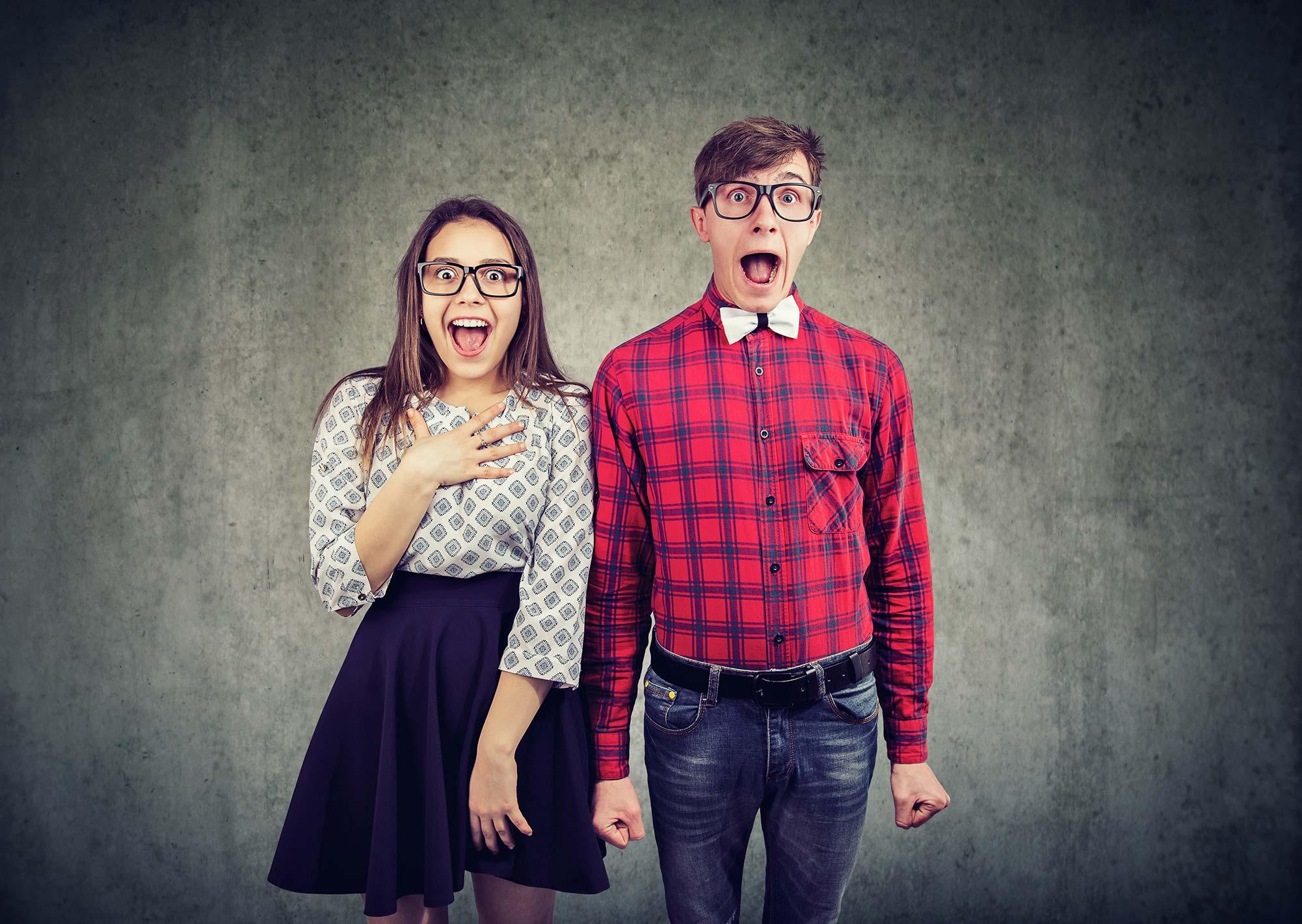 Unique couple excited about hiring graphic designer