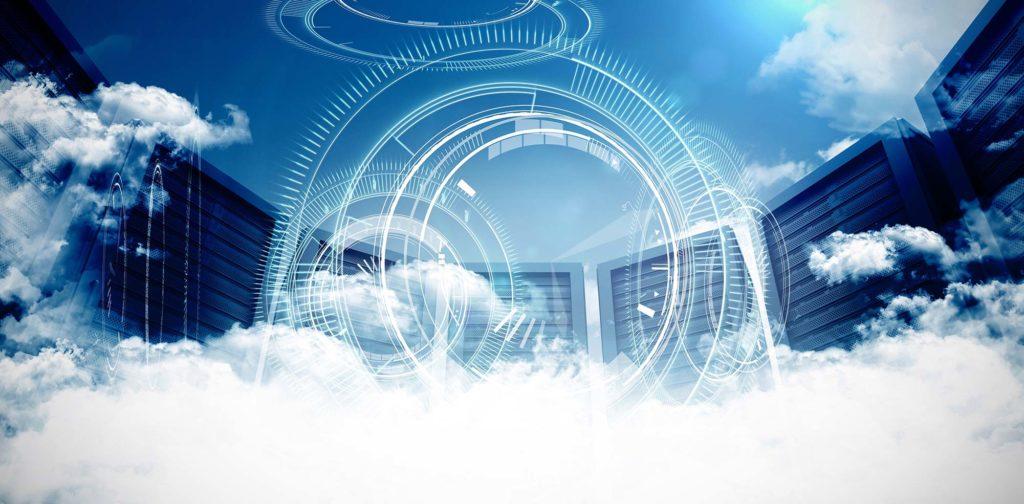 Computers sitting in clouds, representing cloud server website hosting